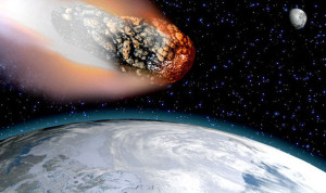 asteroid hitting earth (by NASA)