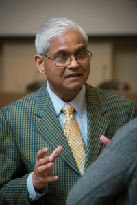 Jagadish Shukla, Professor of Climate Dynamics speaking at the Building Sustainability and Resiliance Symposium. Photo by Evan Cantwell/Creative Services/George Mason University