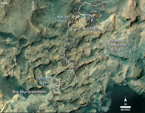 Curiosity rover route to blue dust