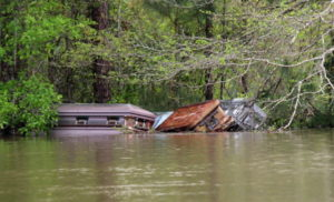 Caskets floating away during flooding